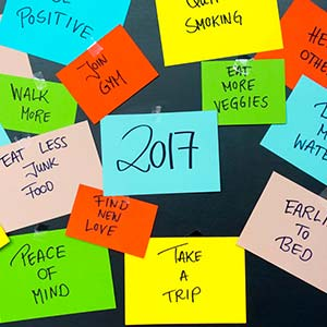 A series of Post-It notes show dates and comments that help track microresolutions.