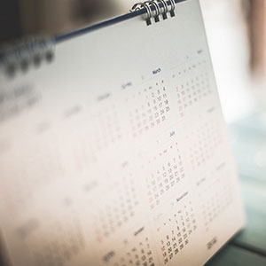 A calendar is open and displaying the months of the year.
