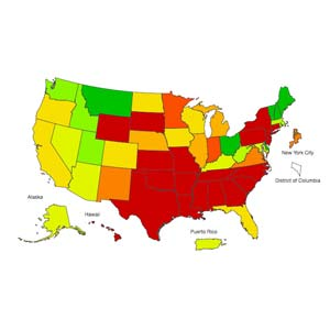 This CDC flu map displays the areas of the country where flu-like activity is the highest.