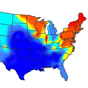 A map of the United States depicts Lyme disease outbreaks in shades of blue, yellow, and red.